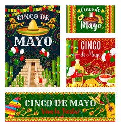 Cinco de mayo mexican holiday invitation banner vector