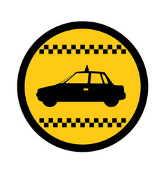 Color circular emblem of taxi car side view vector