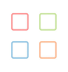 colorful stitched square shape vector image