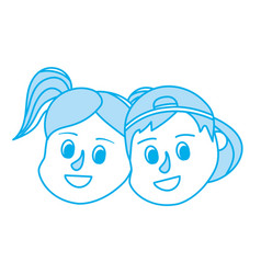 contour children head together with hairstyle vector image