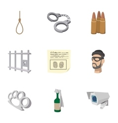 Crime icons set cartoon style vector image