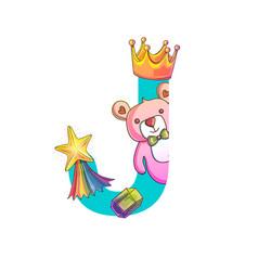 cute magic letter j vector image