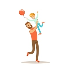 Dad throwing son in the air loving father vector
