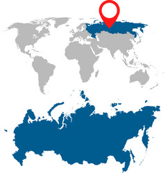 Detailed map of russia russian federation and vector