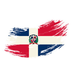 dominican republic flag grunge brush background vector image