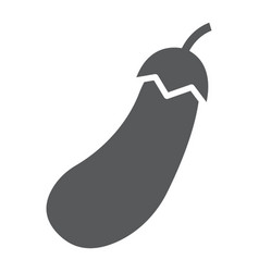 Eggplant glyph icon vegetable and aubergine vector