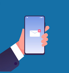 email notification on smartphone hand with cell vector image