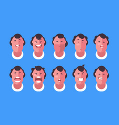 Emotions faces man vector