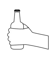 Figure bottles of beer in the hand icon design vector