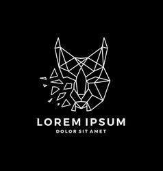 geometric lynx head logo icon line art outline vector image