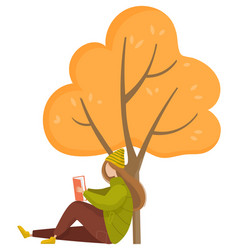 Girl reading book in autumn park fall weather vector