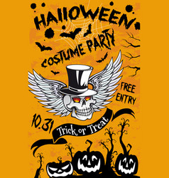 halloween pumpkin and spooky ghost skull banner vector image
