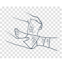 hand that bandaging the foot icon vector image