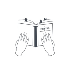 Hands Holding English Language Manual vector