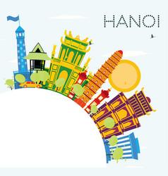 Hanoi skyline with color buildings blue sky vector