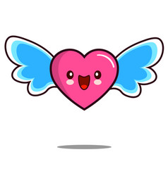 heart cartoon character icon kawaii with wings vector image