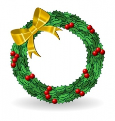 holly crown with golden bow vector image