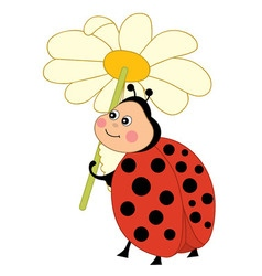 Ladybug With Flowers vector