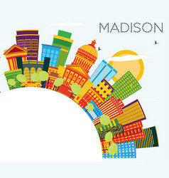 Madison wisconsin skyline with color buildings vector
