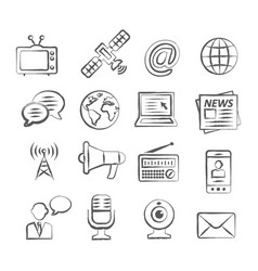 Media doodle icons vector