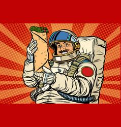 Mustachioed astronaut with shawarma kebab doner vector