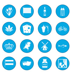 netherlands icon blue vector image