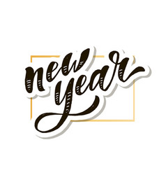 new year christmas lettering calligraphy brush vector image