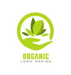 Organic logo design healthy premium quality food vector