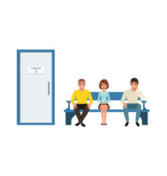 people characters sitting in queue near cabinet vector image