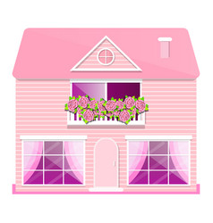 pink house with balcony and roses vector image