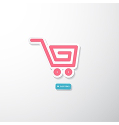 Pink Paper Cart I Love Shopping Blue Tag vector image