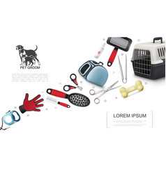 realistic pets grooming elements set vector image