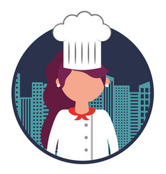 restaurant female chef with cityscape vector image