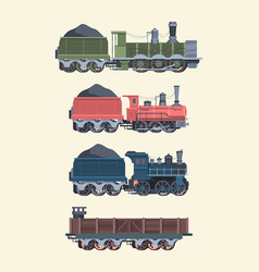 Retro steam locomotives set old steam powered vector