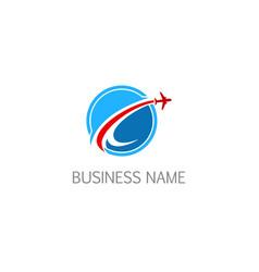 Round airplane fly company logo vector