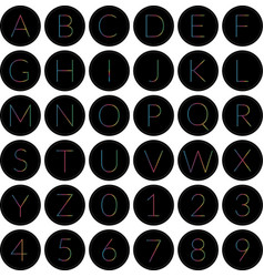 Round alphabet icons black vector