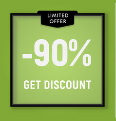 sale 90 percent off get discount website button vector image