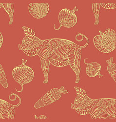 seamless pattern with ornated pigs and vegetables vector image