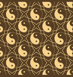 seamless pattern with sign yin yang sample design vector image
