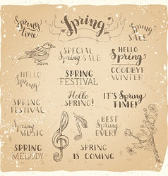 set of hand-written spring brush lettering on old vector image