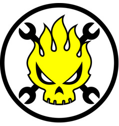 Skull fire cartoon vector