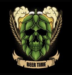 Skull hop fruit beer time vector