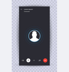 Skype call screen template vector