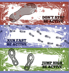 sport shoes footprints banners vector image