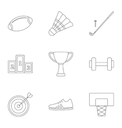 Sports stuff icons set outline style vector image