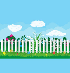 Summer nature landscape with plants and fence vector