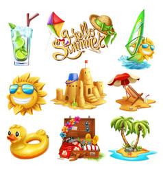 Summer set 3d icon vector