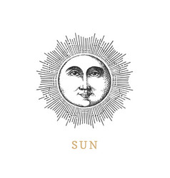 Sun hand drawn in engraving style image vector