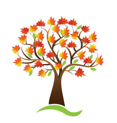 Tree autumn season logo icon background vector