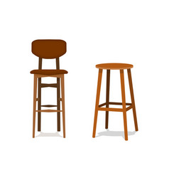 Two ocher brown wooden bar stools with vector